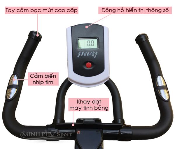 xe đạp tập thể dục JTT-615T đồng hồ