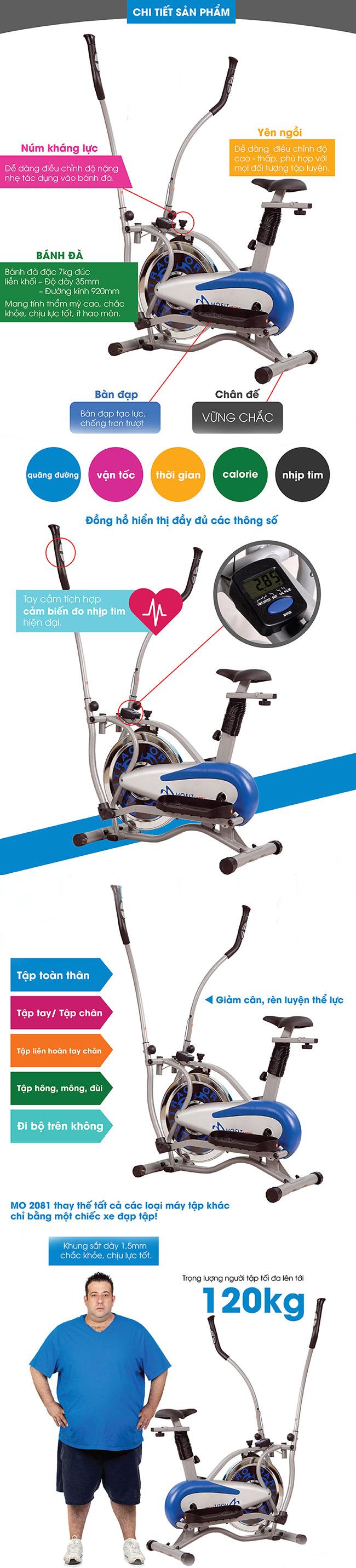 chi tiết xe đạp tập thể dục MO-2081