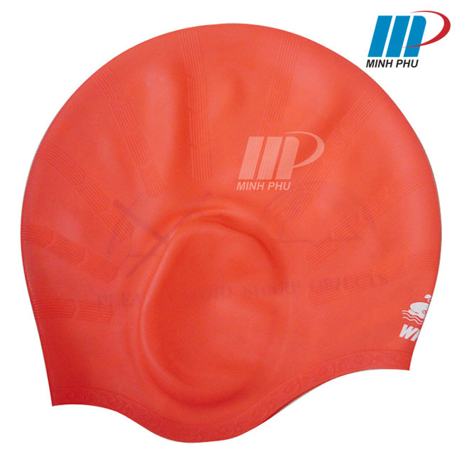 Mũ bơi bịt tai Whale màu đỏ