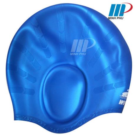 Mũ bơi bịt tai Whale màu xanh